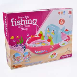 Play Kitchen Set and Fishing Toy Playset 2 in 1