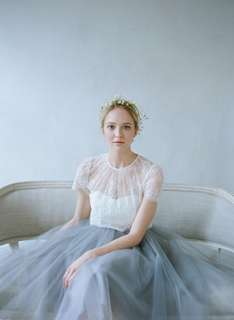 Two-piece Wedding Gown with Cap Sleeve Premium Lace Sheer Top and Dusty Greyish Blue Cathedral Train High-waisted Tulle Skirt Inspired by Alexandra Grecco BHLDN