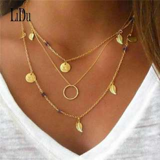 Multilayer Bohemian Gold Leaf Necklace