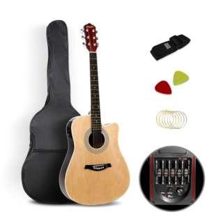 Acoustic Cutaway Guitar Black w/ Steel String Stand Strap