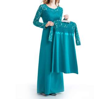 Pairing Matching Set Mother Daughter Kid Baju Kurung Lace Hari Raya Suit