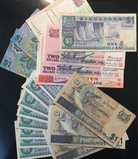 19 Pcs Include 1 Pcs $1 Z/1 Replacement! Brunei 🇧🇳, Singapore 🇸🇬 Bird 🦅 Series, Ship 🚢 Series, Portrait Paper Series, Total Face Value $43, Deal $50 For All 19 Pcs.