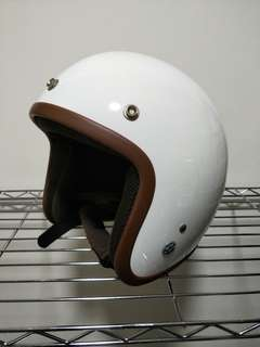 White With Brown Trimming Open Face Helmet