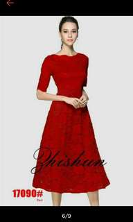 Red formal lace dress-with ACTUAL PHOTO and ONHAND ITEM