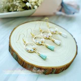 Goodbye Blue Monday Handmade pastel color 珍珠閃石soso 耳環Earrings