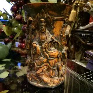 Kwan Yin Brush Pot ..dragon.. Water Lily.. Chinese Dieties