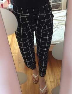square pattern checkered pants