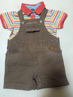 Overall and tshirt for baby 6-12 month