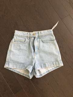 American apparel high waist light wash shorts