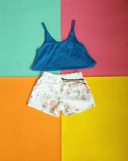 Blue Top and Floral Shorts Set