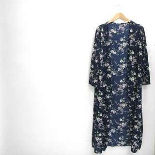 Blue Floral Long Kimono