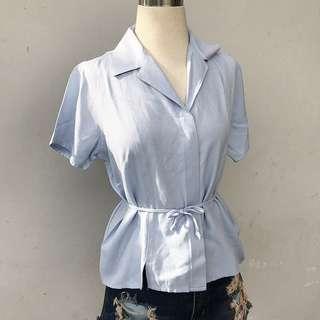 Office Shirt Kemeja Kerja Tied Blouse Collar Kimono Soft Cotton Top