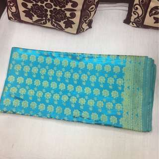 (BN) Promotion for this week-Double Colour Sky Blue Material with Gold Flower Design Material 4 metres for Stitching