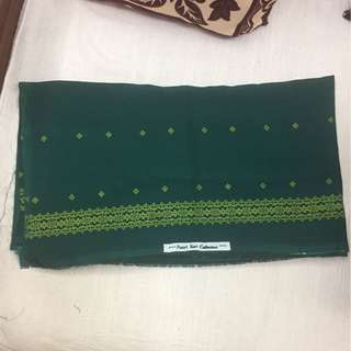 (BN) Promotion for this week -Dark Green Bordered 2 metres Material For Stitching