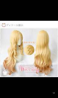 New long blond wig 80cm with pink ends