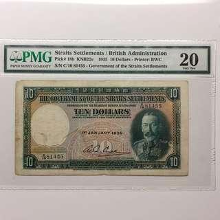 Straits Settlements 1935 $10 banknote