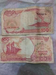 uang kertas antik 100