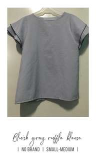 Bluish gray ruffle blouse