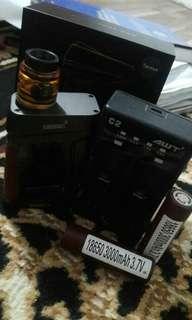 Smoant ranker (authen) +rda artha (clone) + awt charger 2 slot + 2 baterai