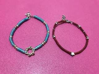 🚚 Tiffany 藍& 紅蠶絲蠟線手環二件組(朋友手編、全新未戴)