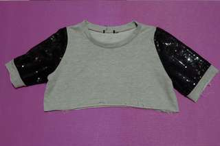 Cropped Tee with Sequin Sleeves
