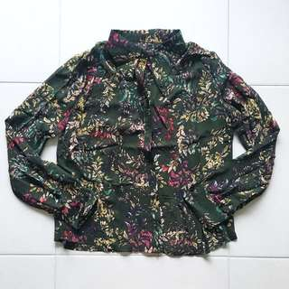Instock! - BNIP Olive Green Vintage Floral Batik Long Sleeve Button Down Shirt