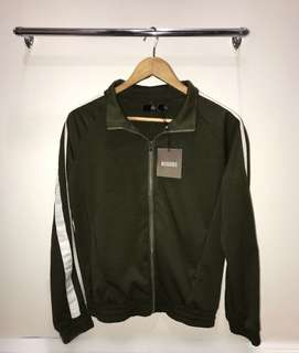 Missguided army green side stripe tracksuit jacket