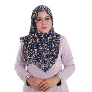 PRINTED SEMI INSTANT SHAWL BLUE (MOM)