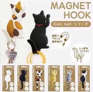 🚚 喵星人 貓尾巴掛勾冰箱磁力貼 memo貼 便條貼 鑰匙圈