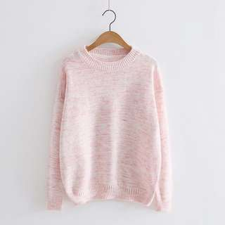 🚚 日式簡約柔軟針織甜粉毛衣親膚舒適好搭
