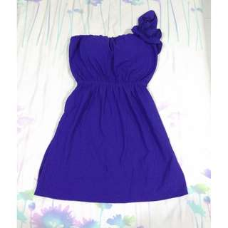🆕Divalicious Royal Blue One-shoulder Flower Strap Dress with bra padded#midmay75
