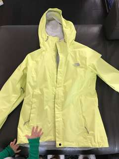 The north face bright yellow rain coat