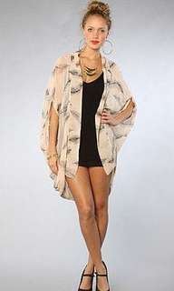 Reverse feather print cardigan