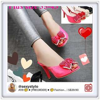 #09 📦◾[🅿re🅾rder]◾📦 Sandals Party Sandals Slides Chunky Red Evening Heels Summer Peep Toe Beading Ladies Crystal Plus Size