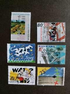 荷蘭郵票 已銷郵票6枚