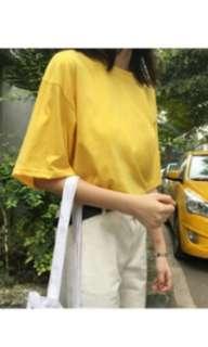 🚚 全新 純色簡約寬鬆落肩短袖上衣 紫白黃 #畢業一百元出清