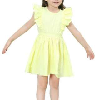 NEW GIRL PURE COTTON JACQUARD LOTUS LEAF STYLE PRINCESS SKIRT (YELLOW)