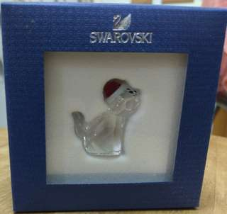 Swarovski 水晶聖誕貓擺設