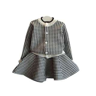 HOUNDSTOOTH LONG SLEEVED SWEATER CARDIGAN AND FLARE SKIRT SET (BLACK) 90