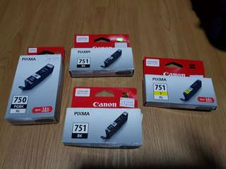 Canon Ink Cartridge Pixma BK751 X 2, Pixma 751 Y XL and Pixma 750 PGBK XL
