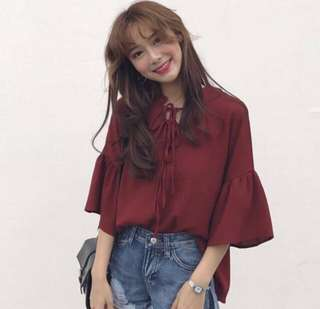Ruffled sleeves lace tie chiffon blouse top in brick wine red