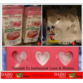Japan Quality - Ice tray Cetakan Tempat Es Batu Motif Hati & Mickey