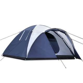 6 Person Canvas Dome Camping Tent - Navy & Grey
