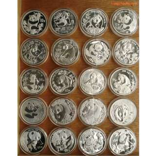 1989 - 2013 1 oz China Panda Coins (25 pieces)