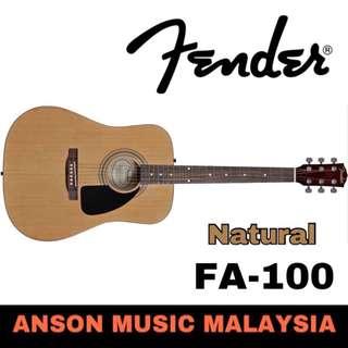 Fender FA-100 Dreadnought Acoustic Guitar w/Gig Bag, Natural