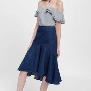 Love Bonito Size M Ullive Denim Asymmetrical Trumpet Skirt