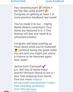 Highly rated seller 💕 thanks Carousell!