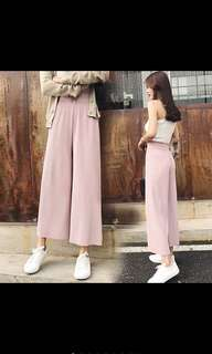 High Waist Culottes Pleated Wide Flare Pants Ulzzang Korean PO
