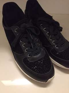 Pedder Red black lace sequin sneakers