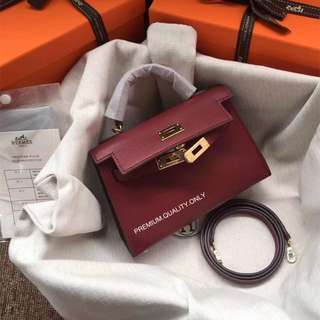 Hermes Epsom leather Mini Kelly - maroon